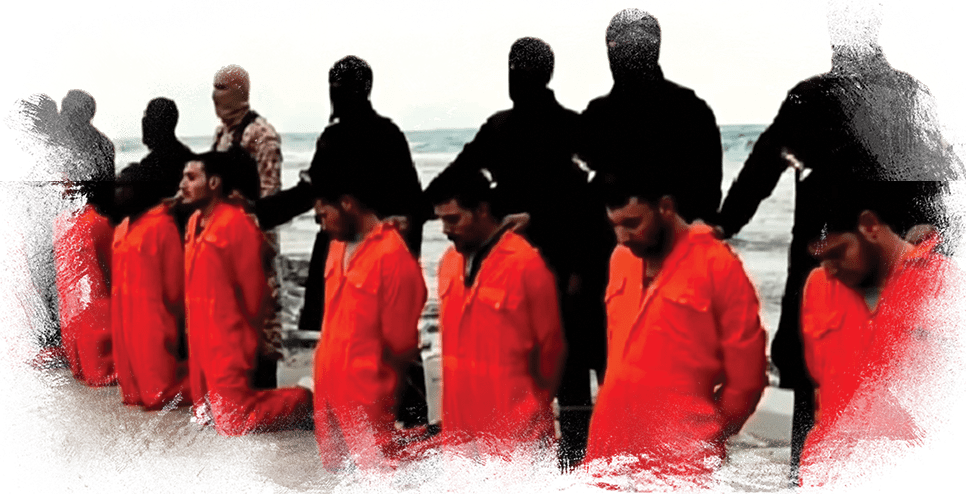 Martyrs in orange jumpsuits kneeling on beach