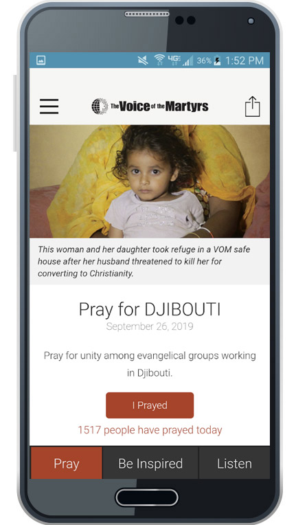 VOM Pray Today App on Phone